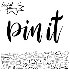social media word lettering for your blog vector image