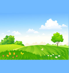 Spring pasture vector