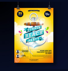 summer beach party poster design template vector image