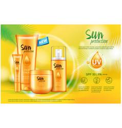 Sun care cream tube bottle spray sun protection vector