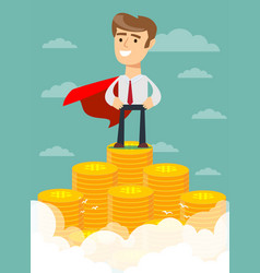 Superhero proudly standing on the huge money vector