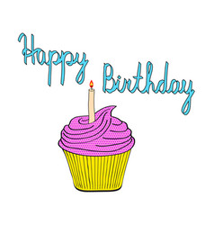 tasty birthday cupcake with candle pop art style vector image