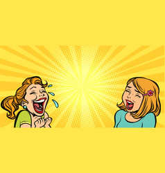 Two cheerful girlfriend girls laugh vector