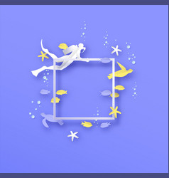underwater diver and fish papercut template frame vector image