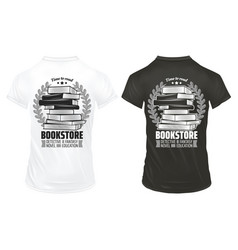 Vintage bookstore prints on shirts template vector