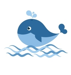 whale on waves vector image