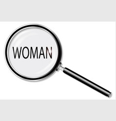 Woman magnifying glass vector