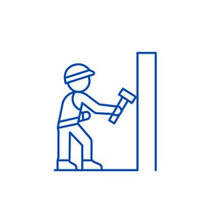 worker builder with hammer line icon concept vector image