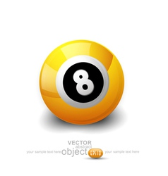 Yellow ball with the number 8 on a white backgroun vector