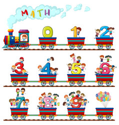 children on the train of numbers vector image