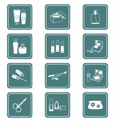 cosmetics icons teal series vector image vector image
