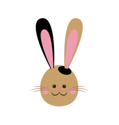 cute easter bunny face cheerful vector image