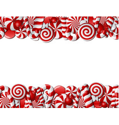 Frame made of red and white candies vector image vector image