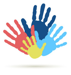 handprint of family team united support vector image