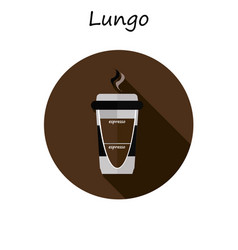 Lungo paper coffee cup with hot coffee in flat vector