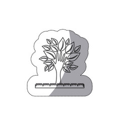 silhouette tree with leaves and grass icon vector image vector image