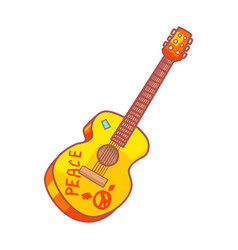 acoustic guitar with peace lettering colorful vector image