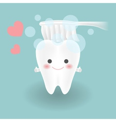 cute smiley white tooth feels confident while vector image vector image