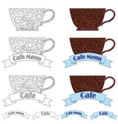 design elements fo cafe vector image