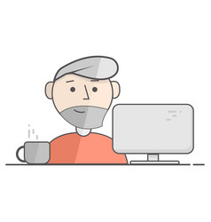 flat of happy man working on vector image
