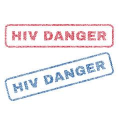 hiv danger textile stamps vector image