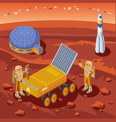 isometric mars exploration template vector image vector image