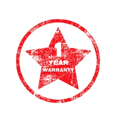one year warranty red grungy stamp isolated vector image
