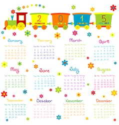 2015 Calendar with toy train and flowers vector image vector image