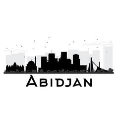 abidjan city skyline black and white silhouette vector image vector image