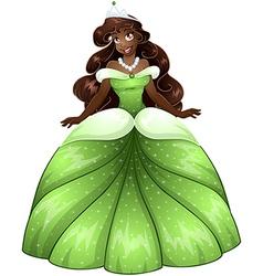 African Princess In Green Dress vector image vector image