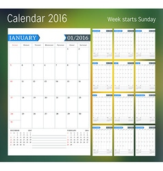 Calendar for 2016 year Planner template design vector image
