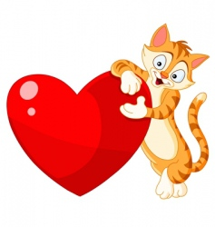 cat holding heart Valentine's vector image