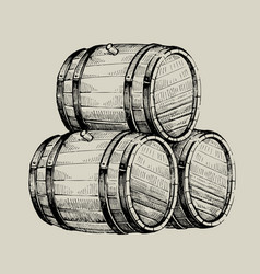 drawing wood barrel vector image vector image