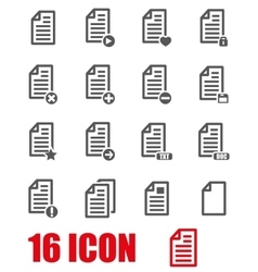 grey documents icon set vector image vector image