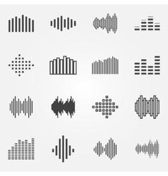 Music soundwave or equalizer icons set vector image vector image