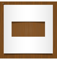 Simple paper frame on wooden background vector image vector image