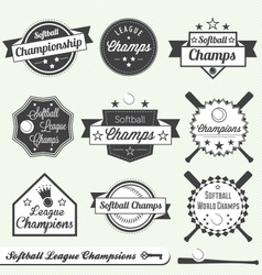 Softball Champs Labels vector image
