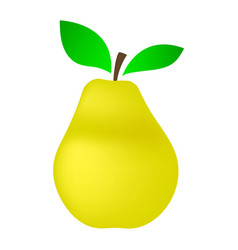 yellow pear on a white background vector image vector image