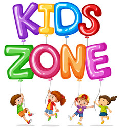 kids zone with happy kids and balloons vector image