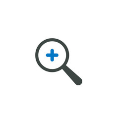 magnifying glass icon plus add icon vector image