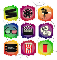 set of icons of a cinema bright multicolor set vector image vector image