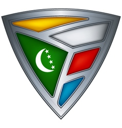 steel shield with flag comoros vector image vector image