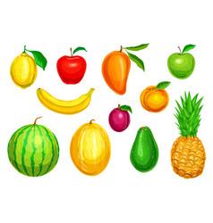 tropical and garden fruit watercolor set vector image vector image
