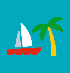 yacht and palm card vector image vector image