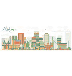 abstract abidjan skyline with color buildings vector image