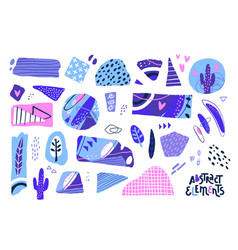 abstract cut out shapes textured hand drawn vector image