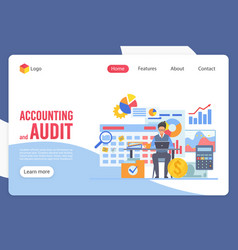 Accounting and audit landing page template vector