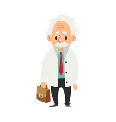 an old man with a mustache standing with a medical vector image