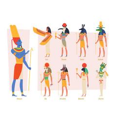 Ancient egypt gods pharaoh anubis osiris egyptian vector