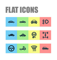 Automobile icons set with crossover foglight vector